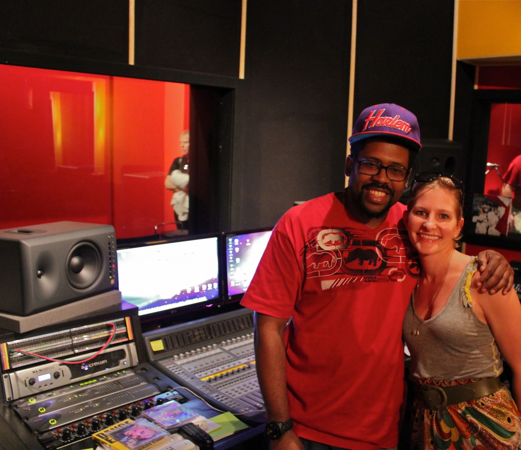 Anderson Sa with Laura in the recording studio at the AfroReggae Center.